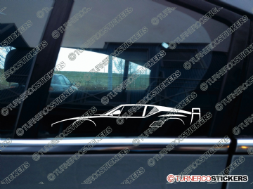 2x Car Silhouette sticker - DeTomaso Pantera Si classic mid-engined sports car